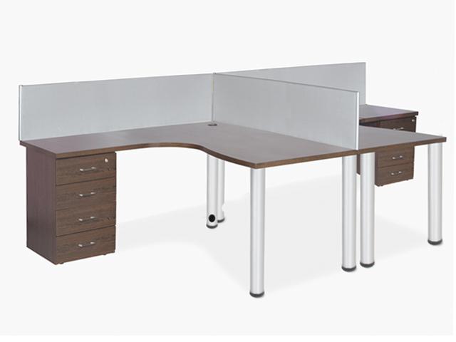 24-7 Cluster Desk 2 Way Desk High Pedestal Filer Wenge