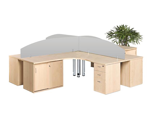 24-7 Cluster Desk 4 Way Sliding Credenza Open Maple