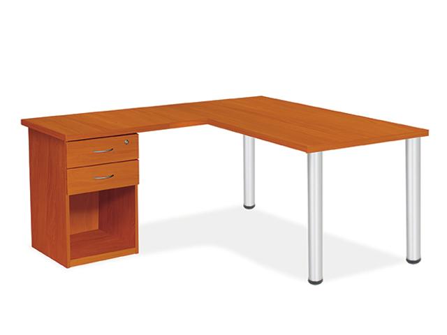 24-7 Cluster Desk Desk High Pedestal Open Bodensee Cherry