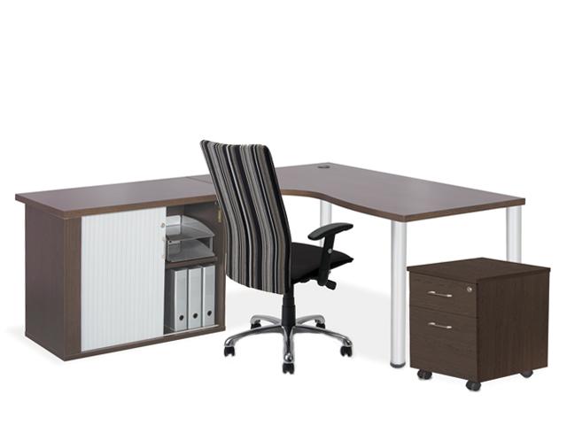 24-7 Cluster Desk Roller Credenza Mobile-Pedestal Wenge