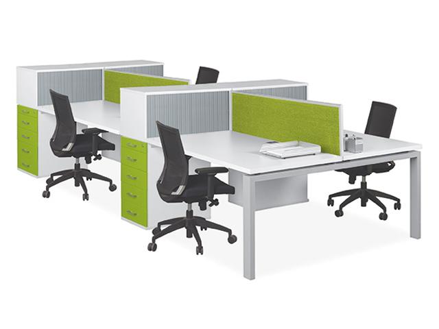 Eurospace 4 Way Desk System 1 Tier Roller Green