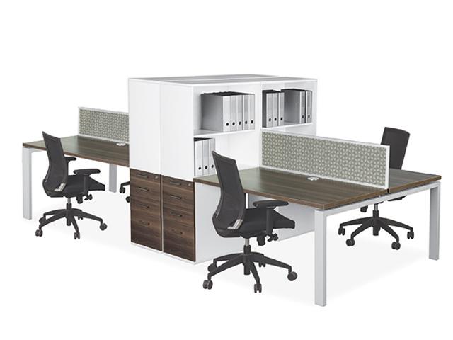 Eurospace 4 Way Desk System 2 Tier Open American Walnut
