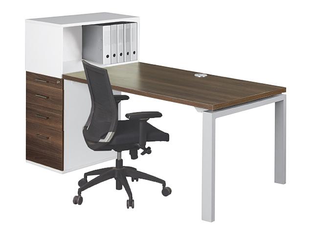 Eurospace Single Desk System 1 Tier Open American Walnut