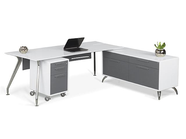Prato desk with credenza Mobile Pedestal